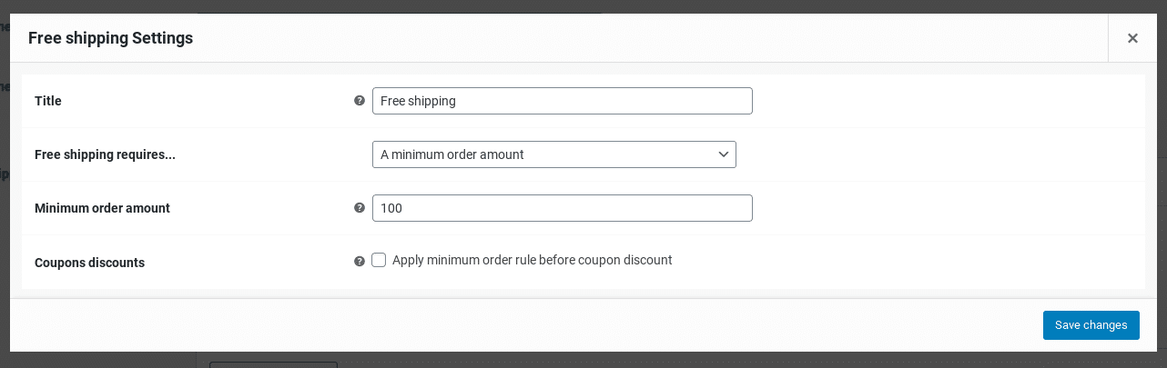 free shipping settings