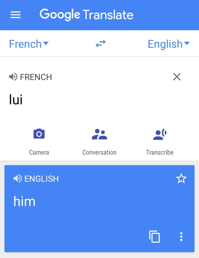 "Lui in French means ""him"" in English"