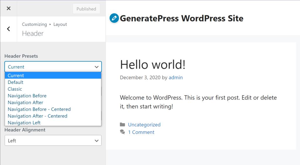 Réglages de l'en-tête dans GeneratePress - GeneratePress vs Astra comparison