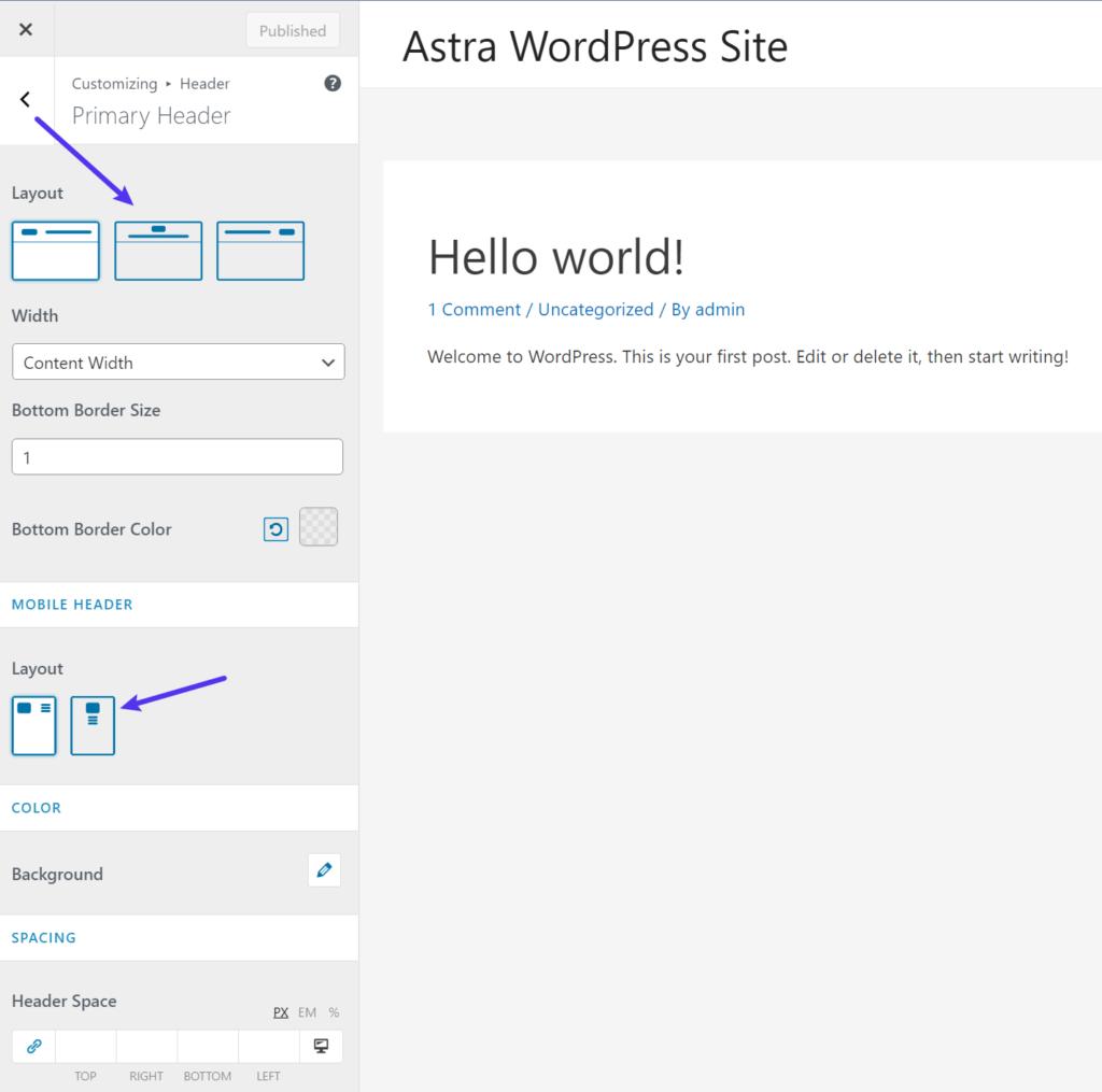 El tema de Astra Opciones de personalización - GeneratePress vs Astra comparison