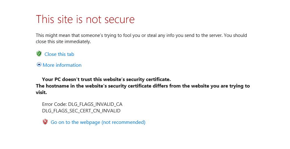 Eine Warnung vor einem Sicherheitszertifikat im Internet Explorer