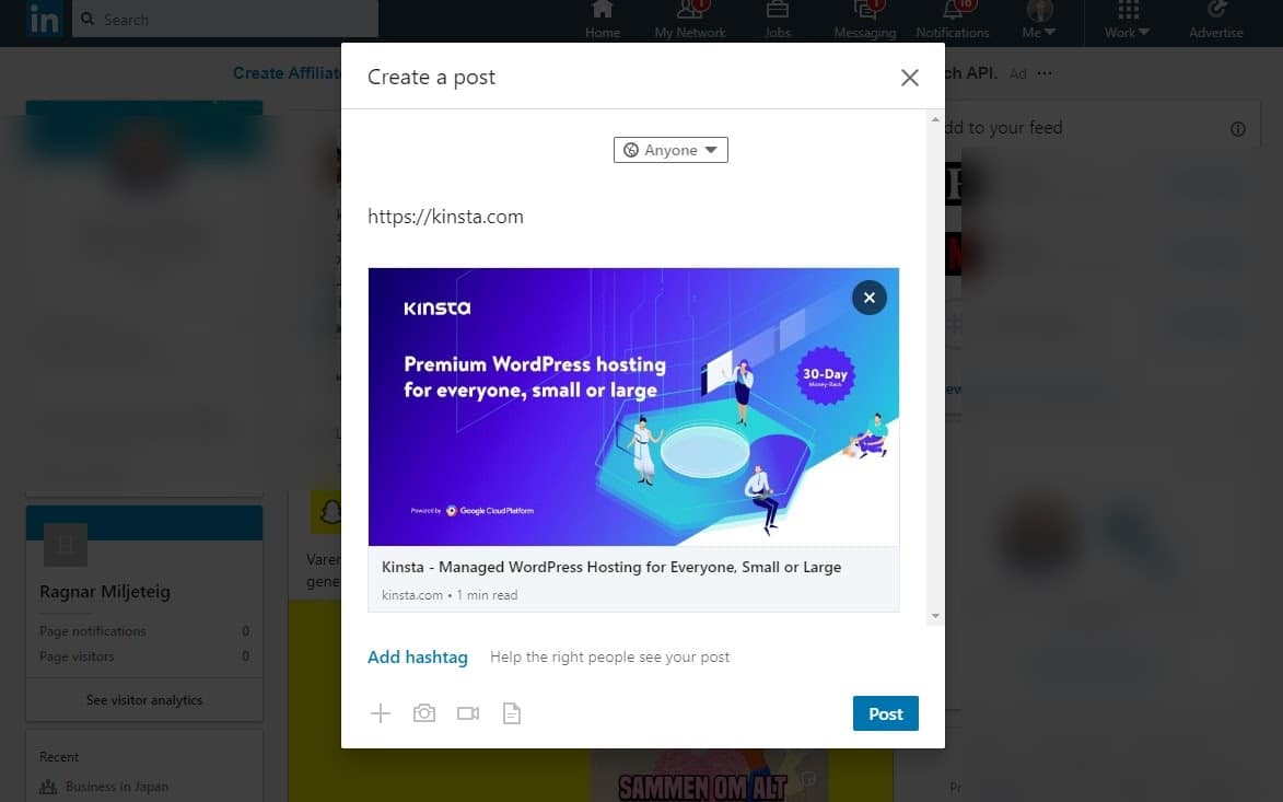 linkedin link preview