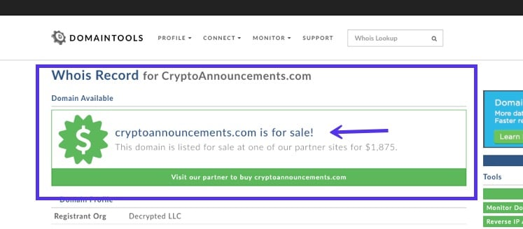 WHOIS Lookup - dominio en venta