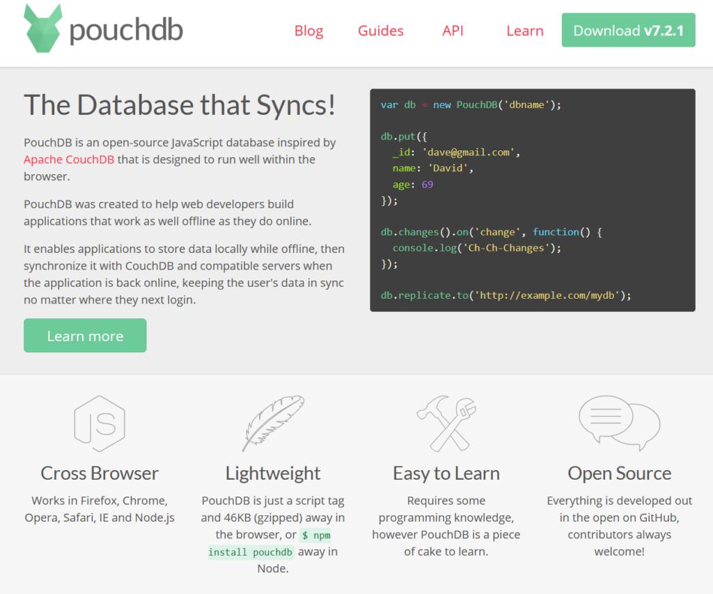 PouchDB base de datos JavaScript de código abierto - php vs javascript