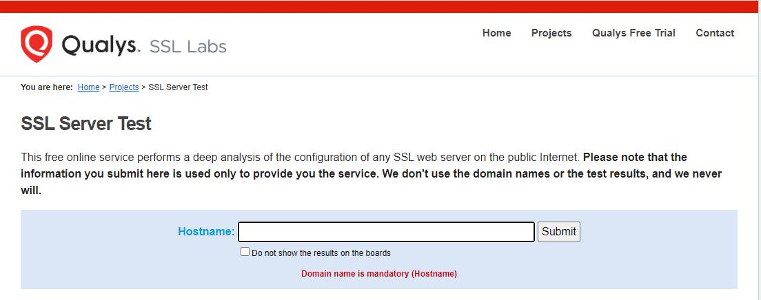 O teste do servidor Qualys SSL