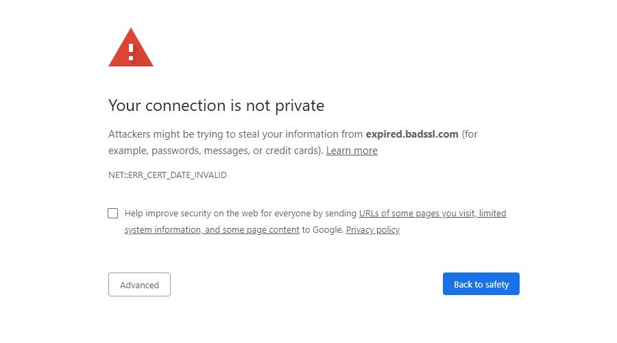 Il messaggio di errore NET::ERR_CERT_DATE_INVALID in Chrome.