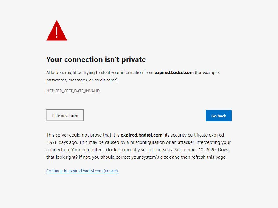 Il messaggio di errore NET::ERR_CERT_DATE_INVALID in Microsoft Edge.