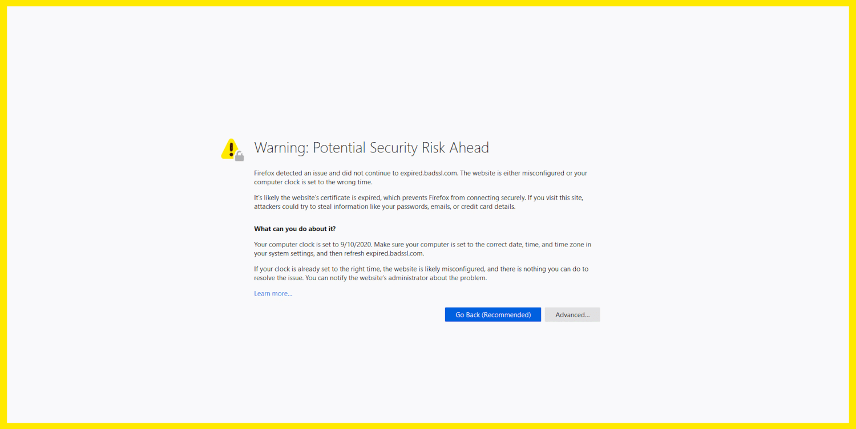 A NET::ERR_CERT_DATE_INVALID mensagem de erro no Firefox.