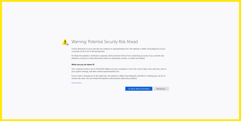 Die NET::ERR_CERT_DATE_INVALID Fehlermeldung in Firefox.
