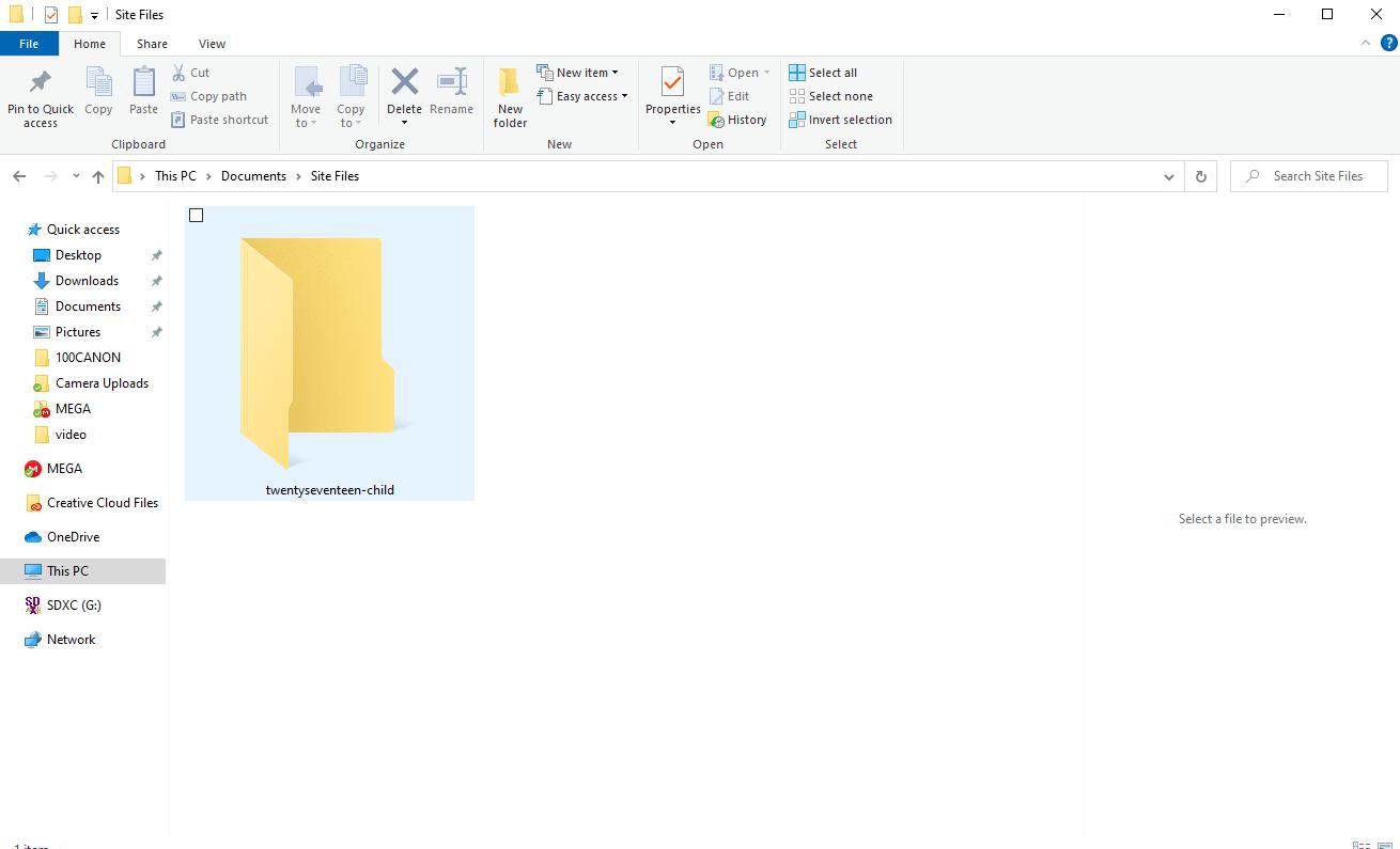 Child theme folder for HTML to WordPress