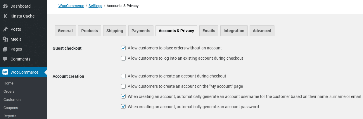 woocommerce accounts privacy