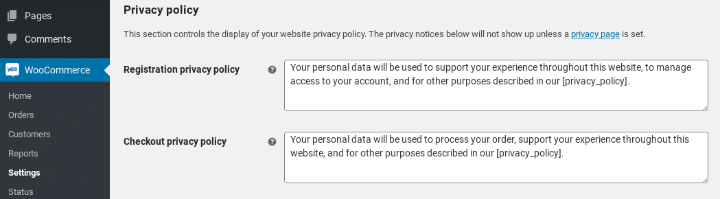 woocommerce privacy policy
