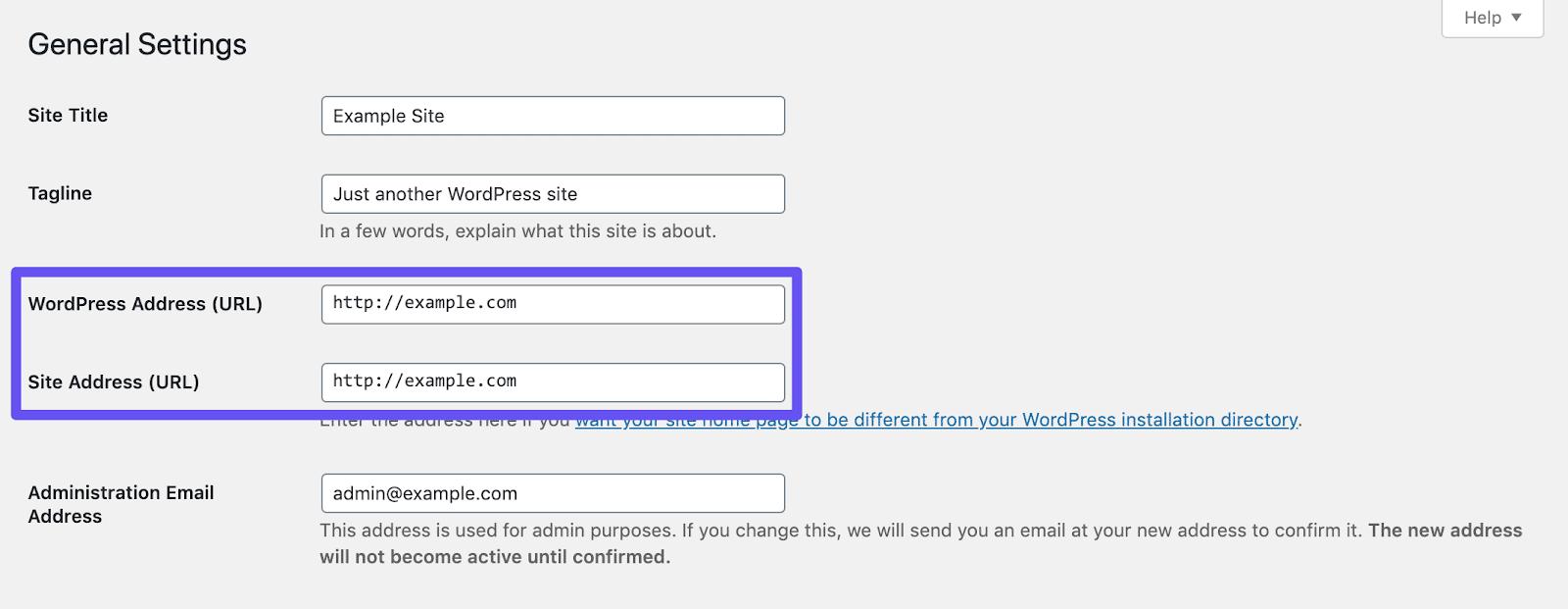 Überprüfe die Einstellungen der WordPress Adresse und der Webseite