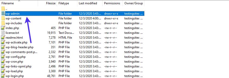 The wp-admin folder helps render the WordPress admin dashboard.
