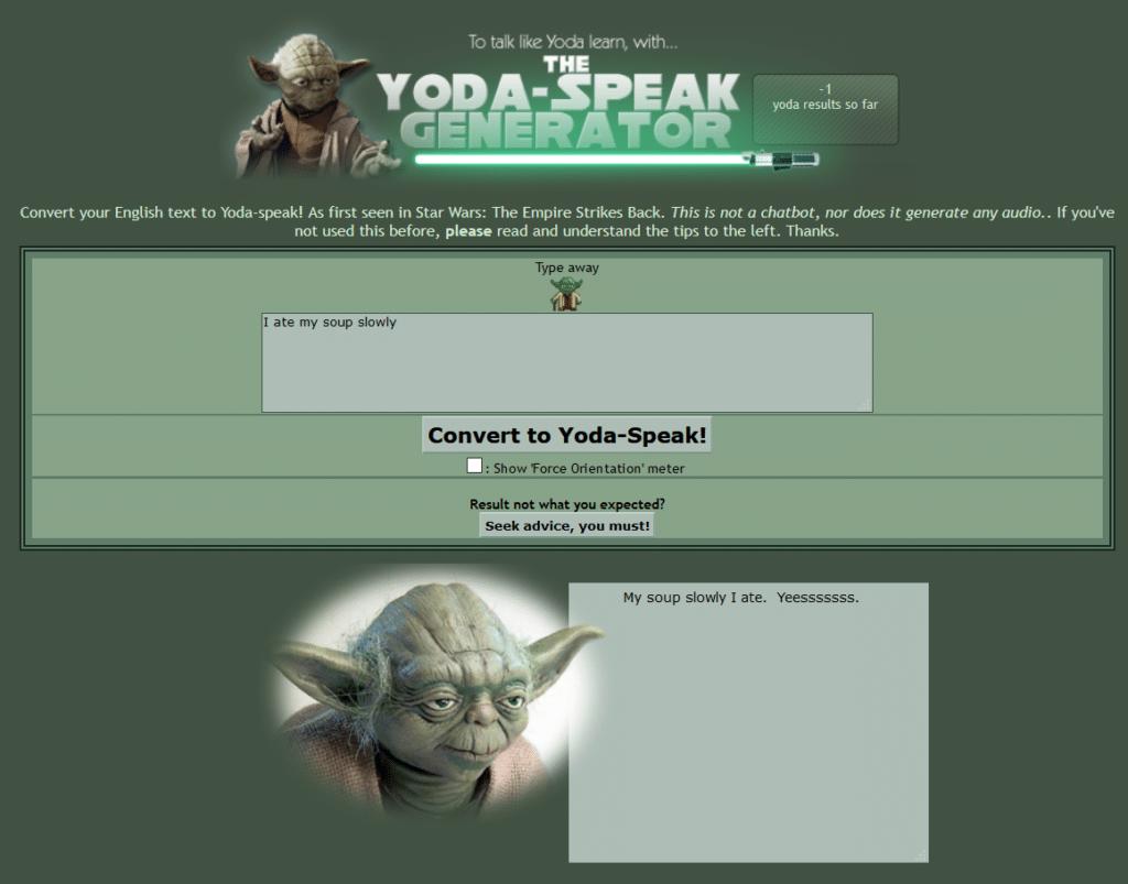 El Generador de Yoda-Speak