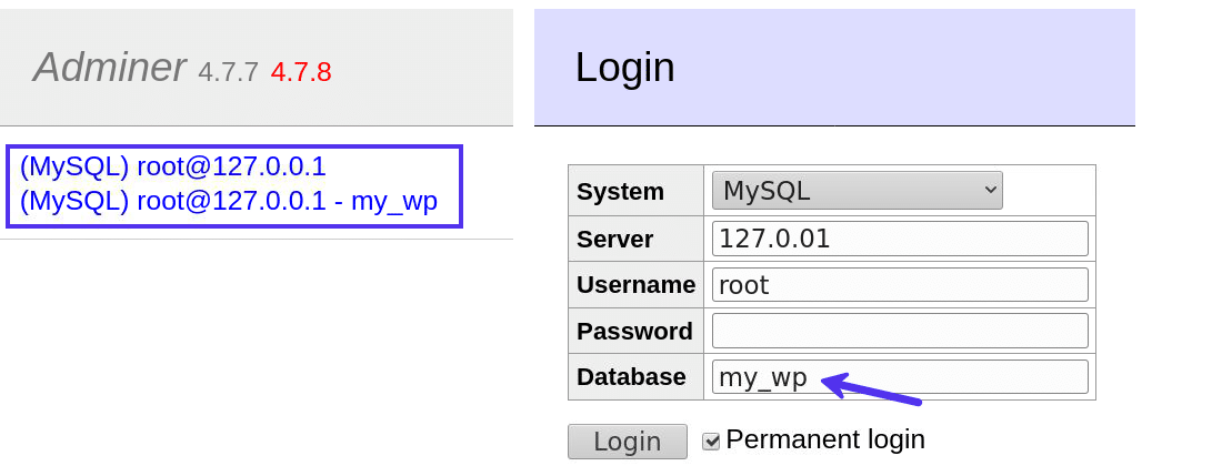 Logging into Adminer with or without a database name