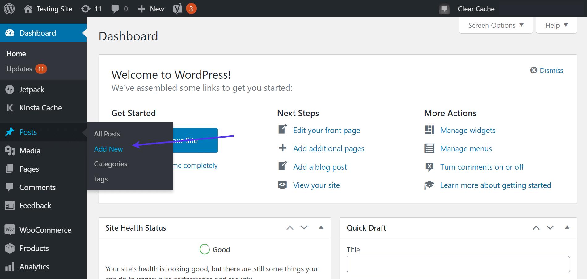 Posts > Add New link in WordPress dashboard