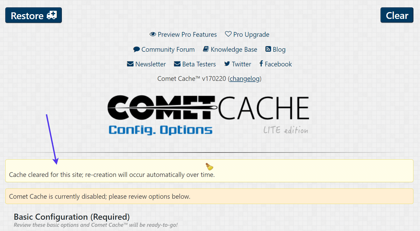 Cache cleared message with Comet Cache