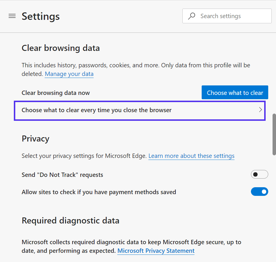 'Clear browsing data' advanced settings