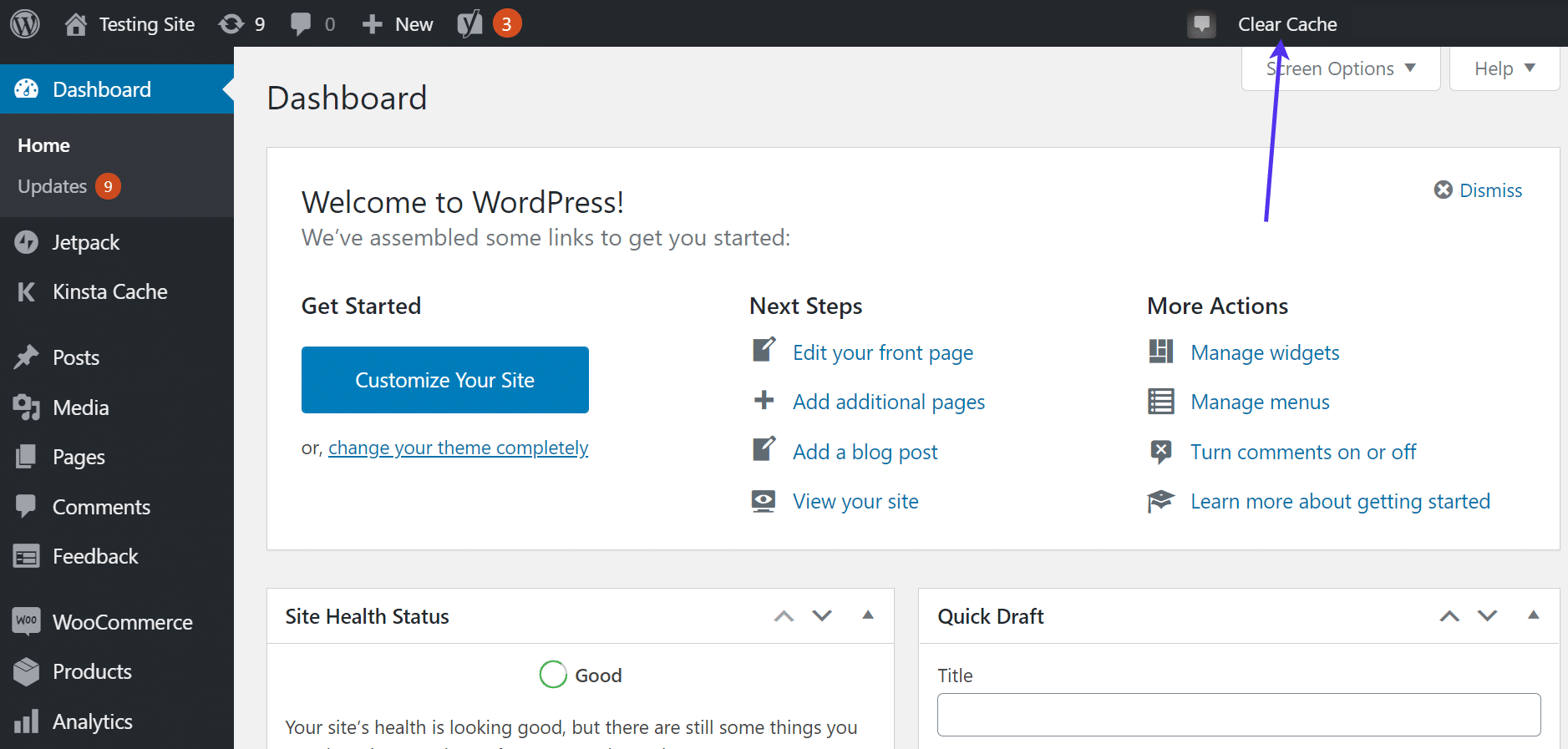 'Clear Cache' button in WordPress dashboard