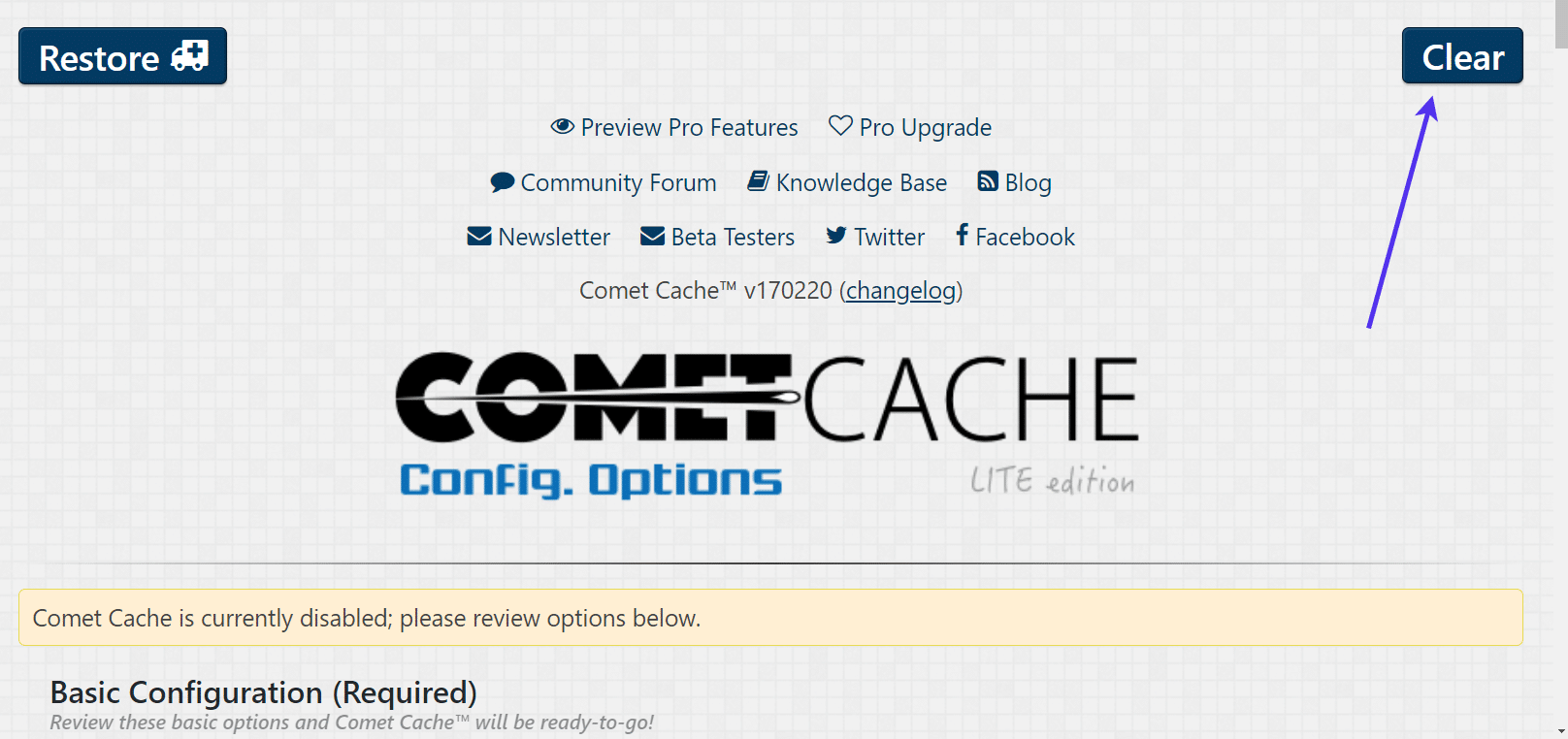 Clear WordPress cache with Comet Cache