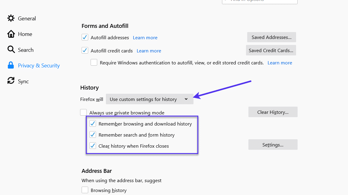 'Use custom settings for history' option