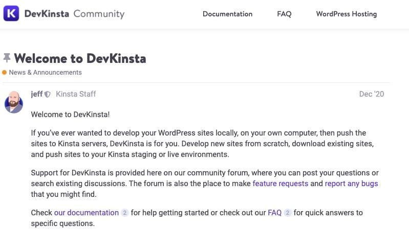 Il forum della Community di DevKinsta