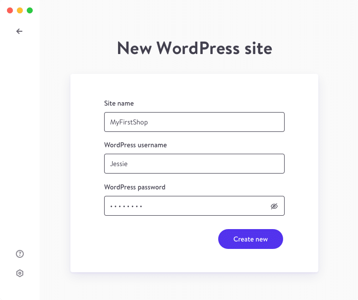 DevKinsta screenshot creating new site