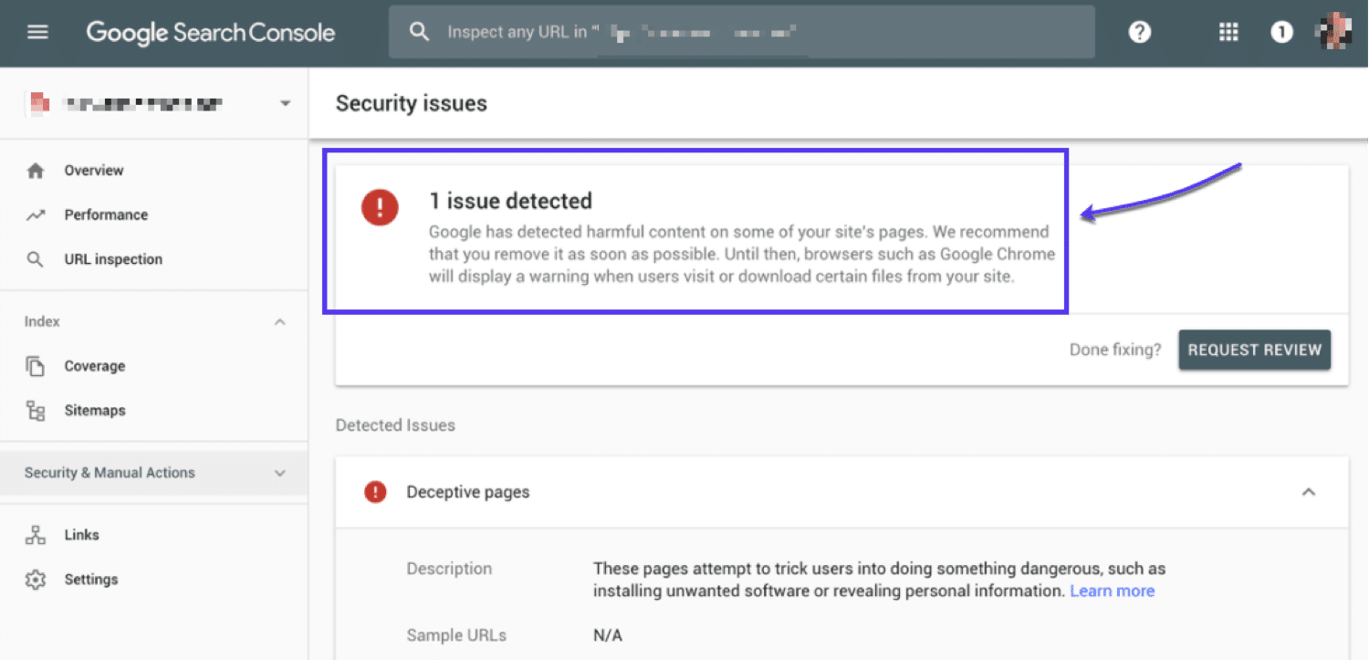 An example of what you may see inside Google Search Console if your site (or a URL) is blacklisted