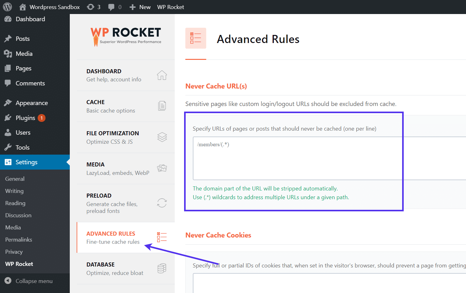 Advanced rules to clear WordPress cache in WP Rocket