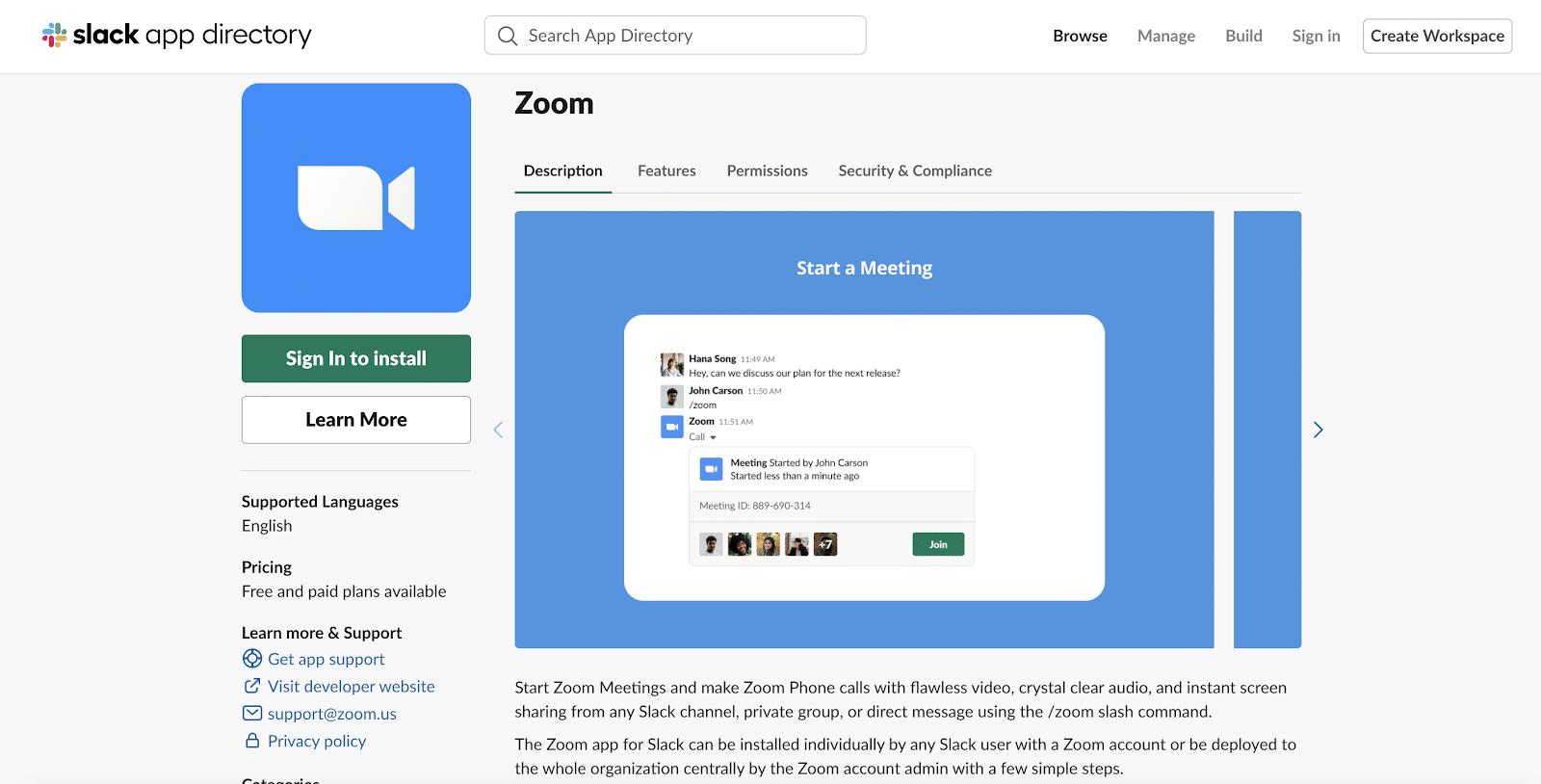 Zoom app for Slack