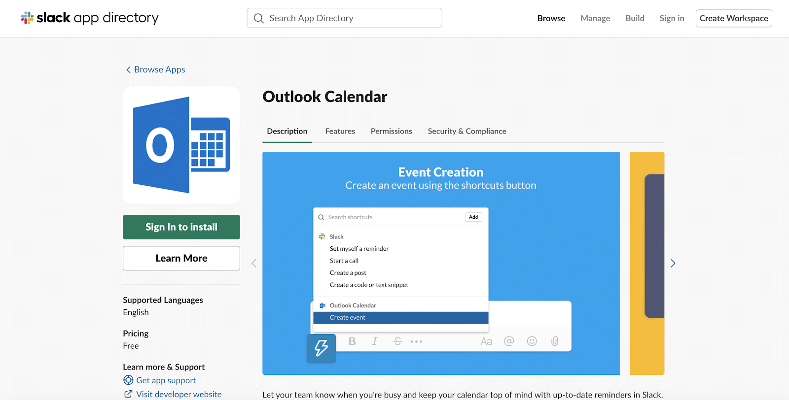 Outlook Calendar für Slack