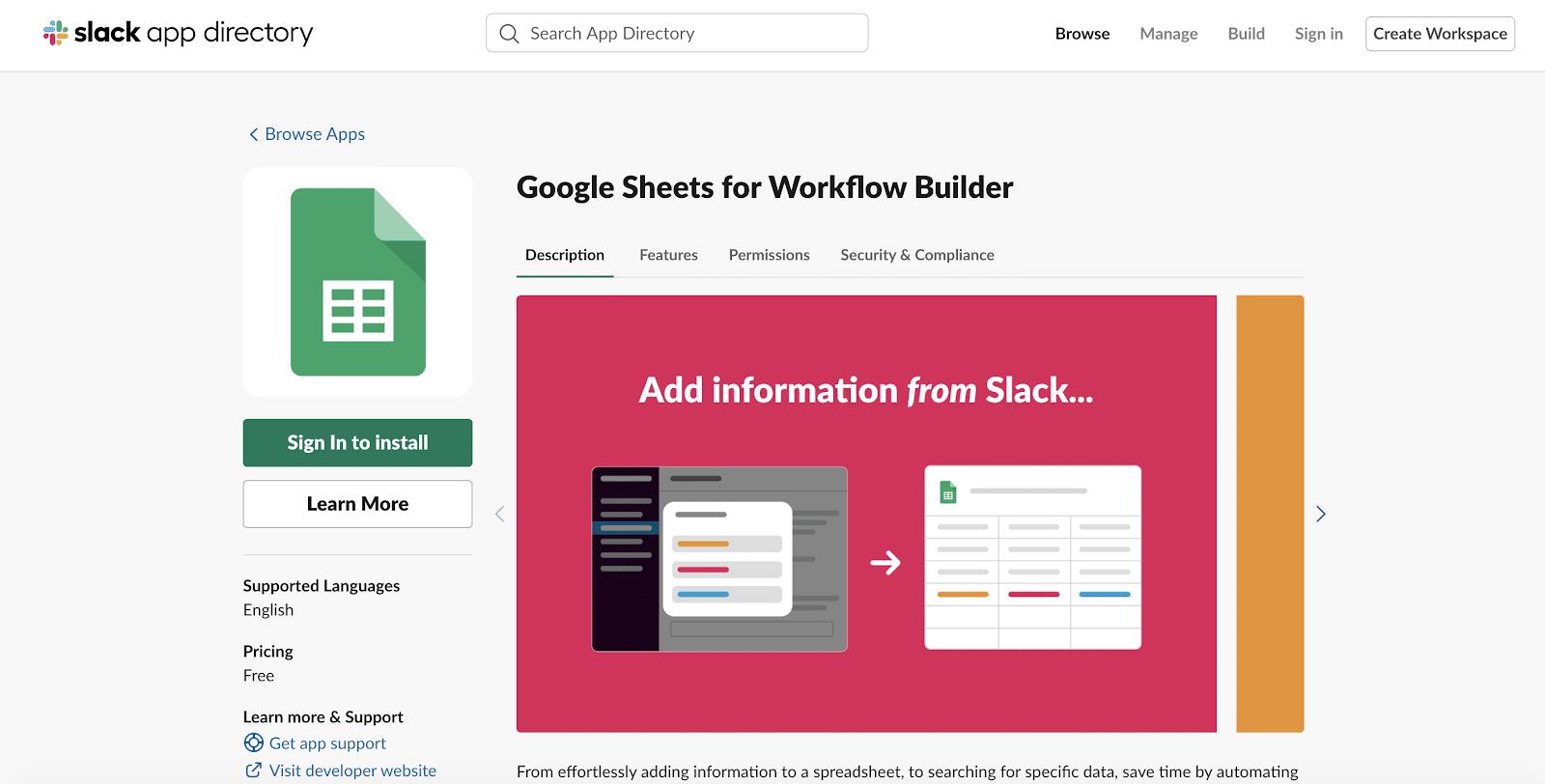Google Sheets for Workflow Builder app for Slack