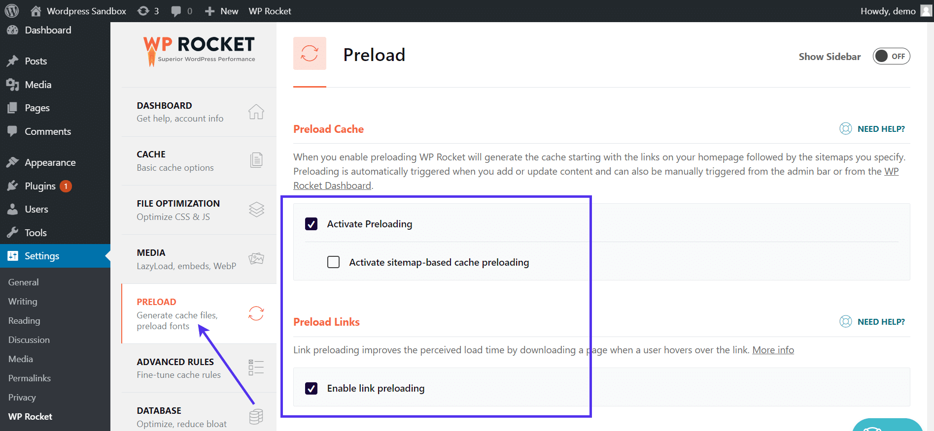 Preload settings in WP Rocket