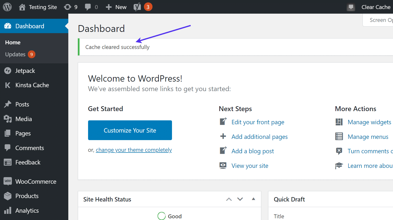 Mensaje de WordPress 'Cache cleared successfully'