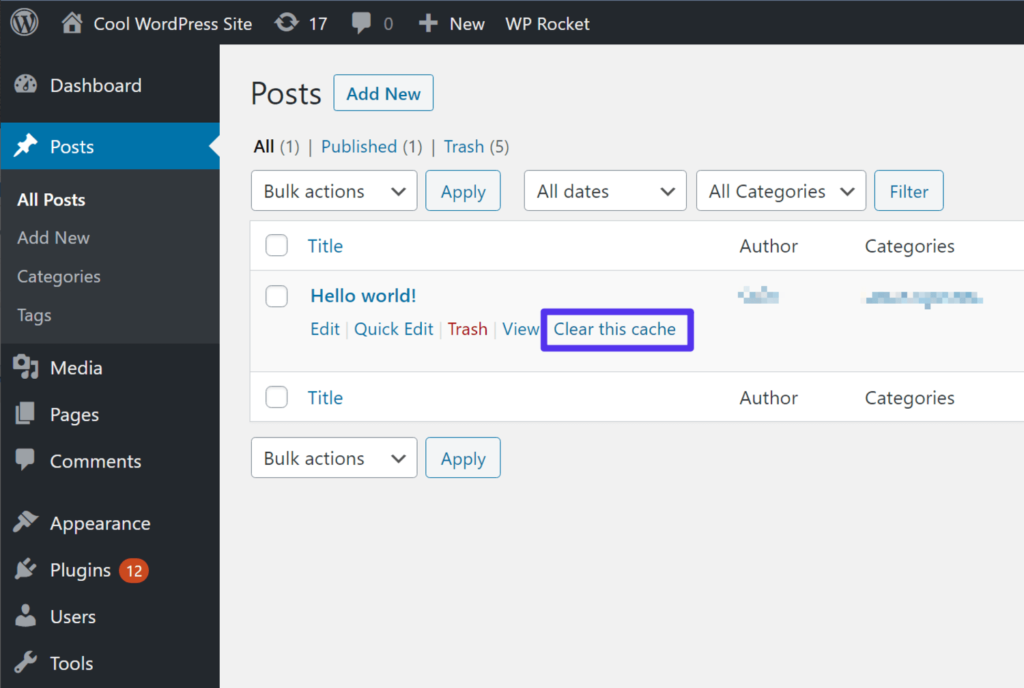 How to clear a single post's cache with WP Rocket