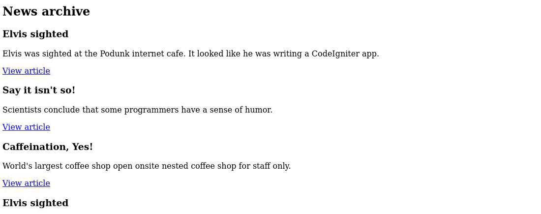 La pagina dell'archivio di CodeIgniter testata