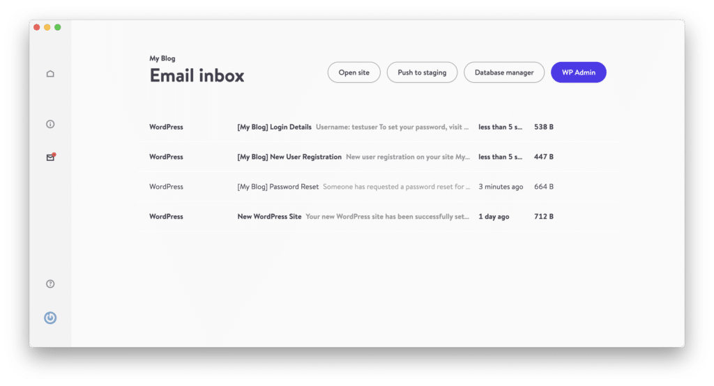 La 'boîte de réception d'e-mail' de DevKinsta est propulsée par MailHog