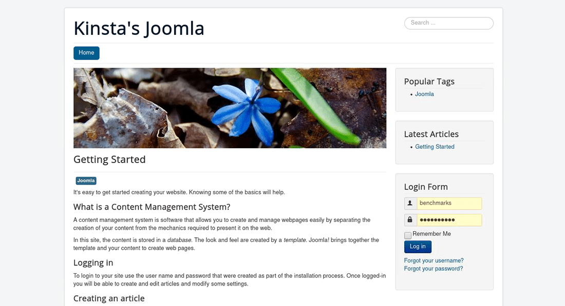 The tested Joomla homepage