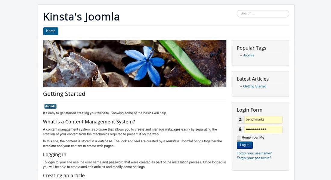 La homepage testata di Joomla