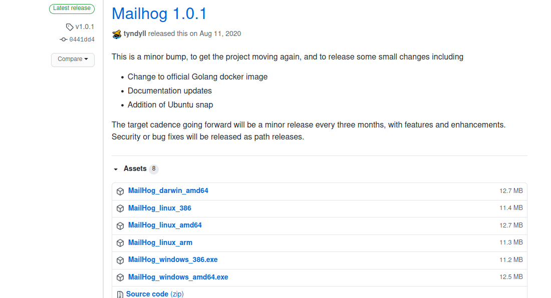 Page Giuthub des versions de MailHog