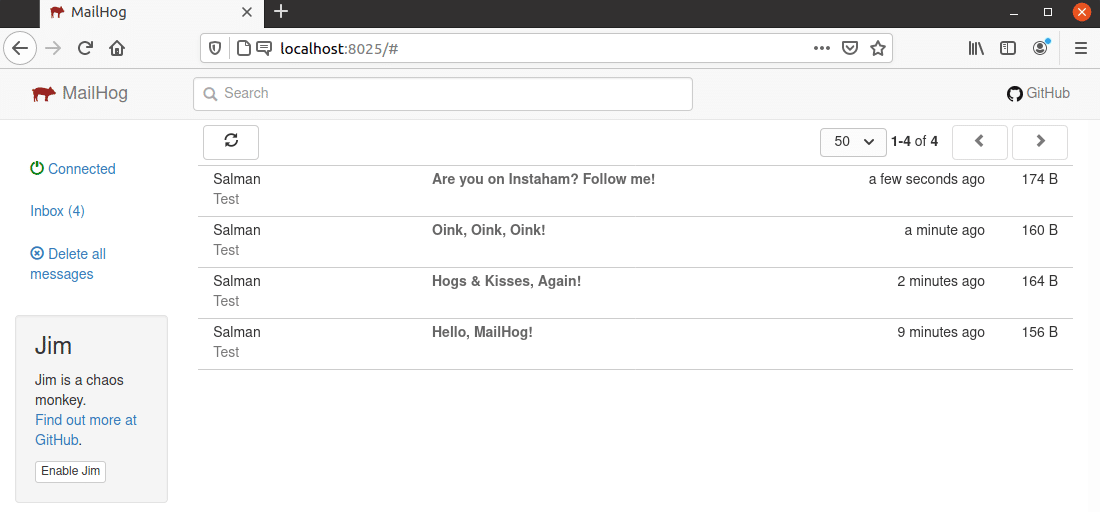 UI web MailHog