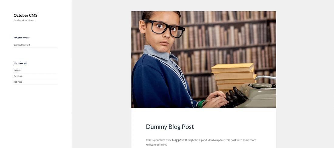 La pagina testata del blog di OctoberCMS