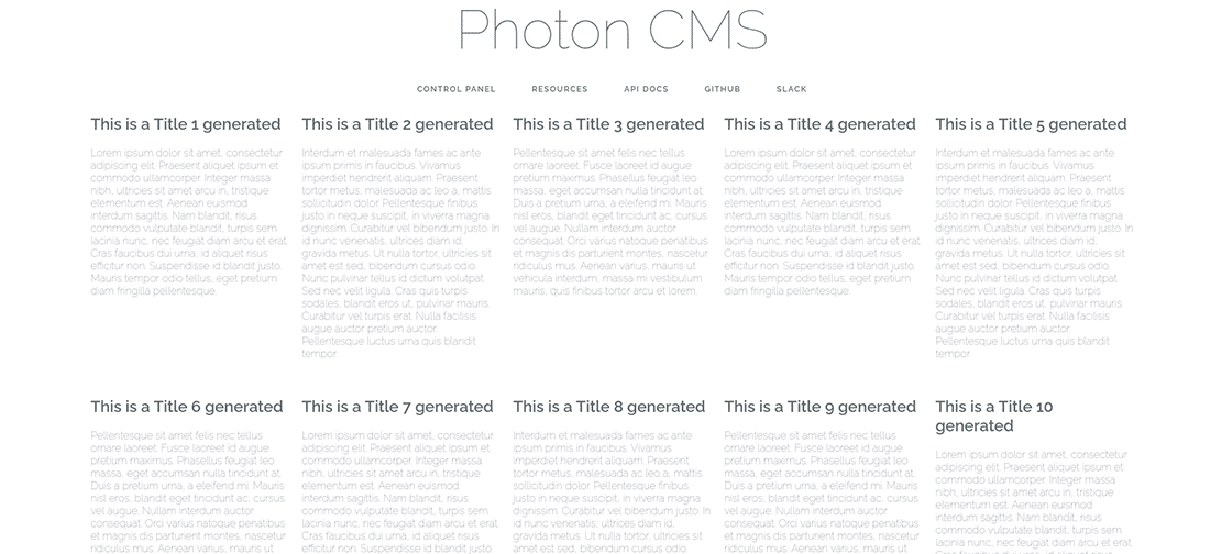The tested Photon CMS homepage