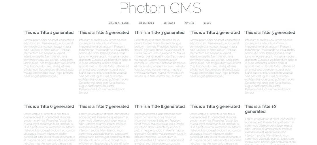 La homepage testata di Photon CMS