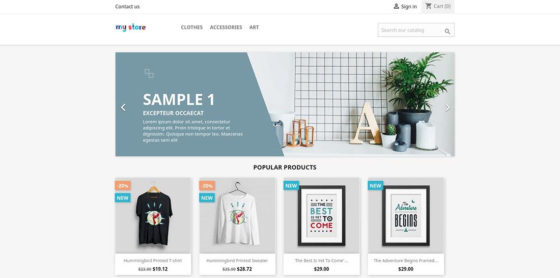 La homepage di PrestaShop testata
