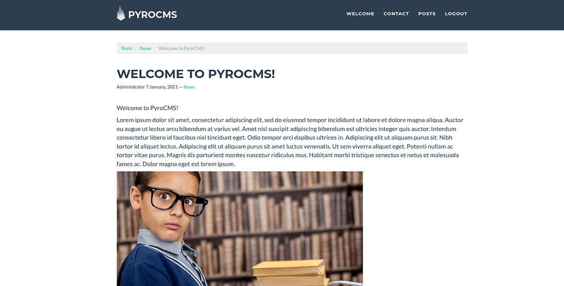 The tested PyroCMS blog page