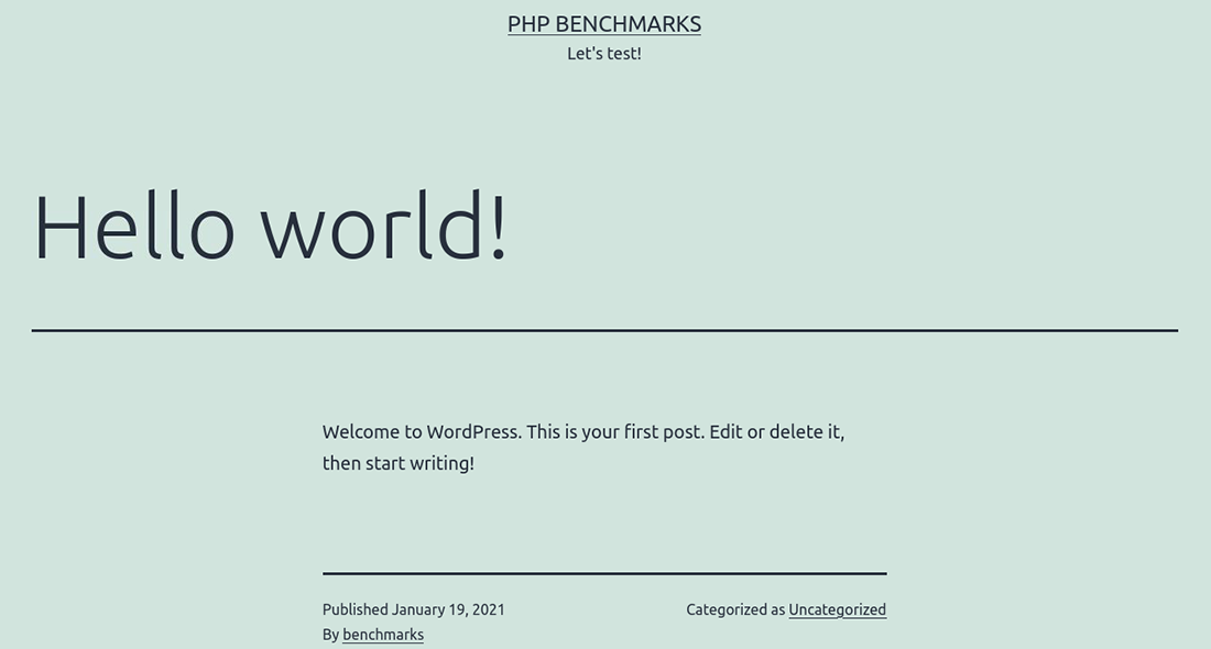 The tested WordPress 'Hello world!' blog page