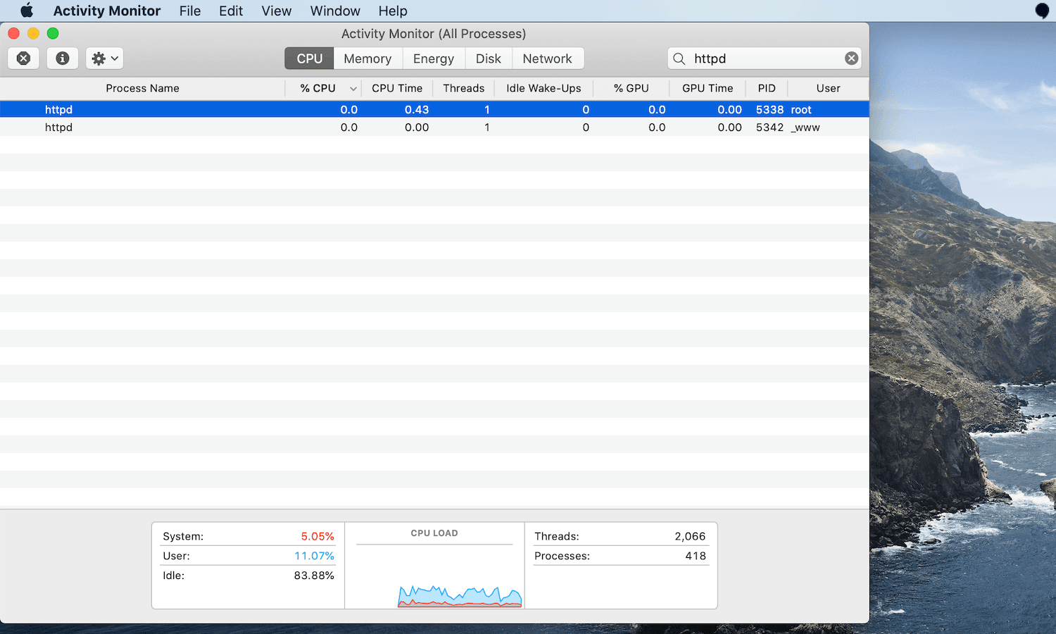 Quit httpd processes in macOS.