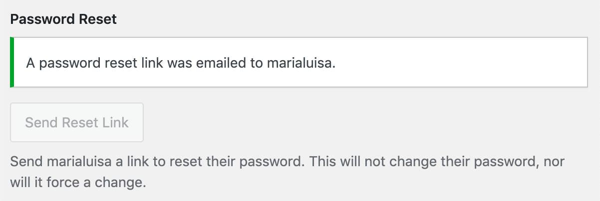 Un aviso del administrador confirma que el correo electrónico se ha enviado con éxito